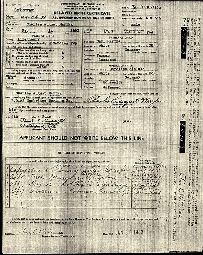 Marzka Marzke Family Tree Charles Marzka Delayed Birth Certificate